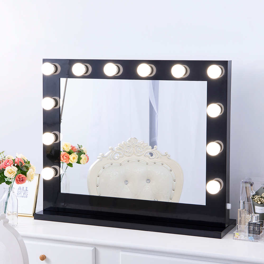 Chende Large Black Hollywood Lighted Makeup Vanity Mirror Light Makeup Dressing Table Vanity Set Mirrors With Dimmer Walmart Com Makeup Mirror With Lights Makeup Vanity Mirror With Lights Beauty Mirror