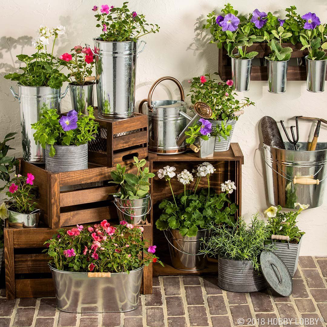 Hobby lobby garden decor  Freshen up your garden for summer with trendy galvanized pieces