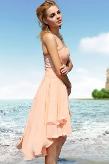 Summer Knee Length Sweetheart Orange Chiffon Cocktail Dresses