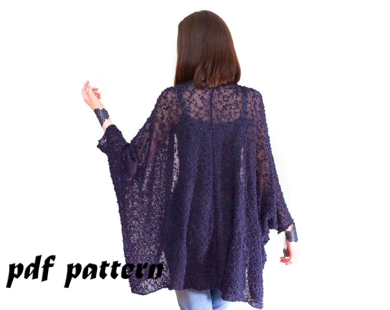 Knitted shrug of boucle yarn Knitting Pattern Big Shrug cape Open ...