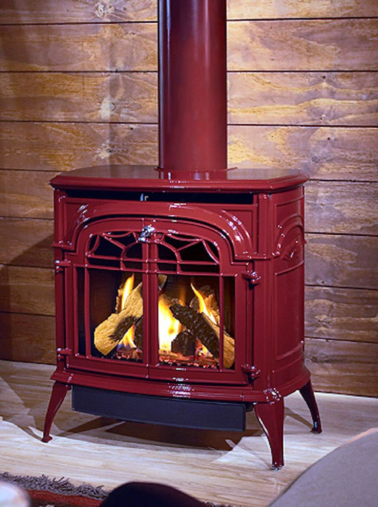 Image Result For Vermont Castings Red Enamel Wood Stove Wood Burning Stove Corner Wood Stove Fireplace Fireplace Supplies