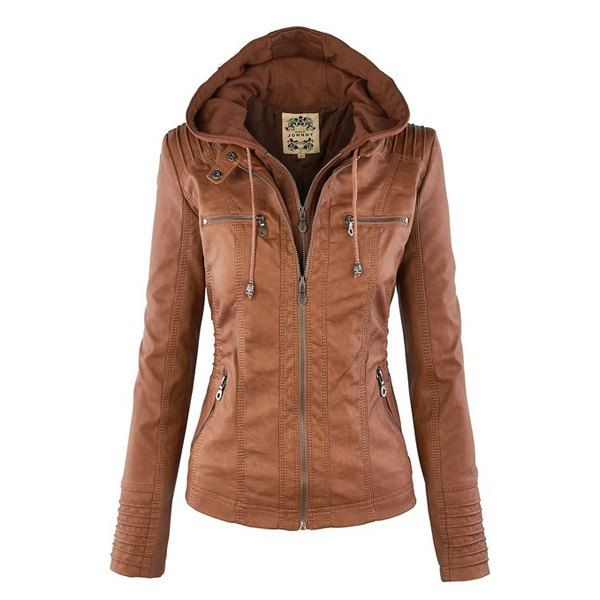 Drawstring Detachable Hooded Faux Leather Jacket | Jackets for ...