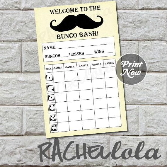 Mustache bunco score card, score sheet, bunko party, scorecard, men - bunco score sheets template