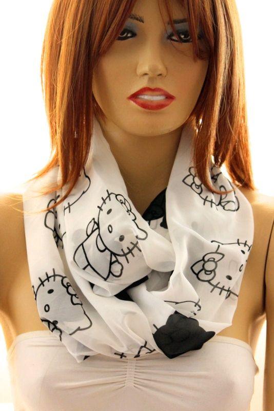 Kitty printed Scarf .Infinity scarf. Loop scarf. by oceanscarf