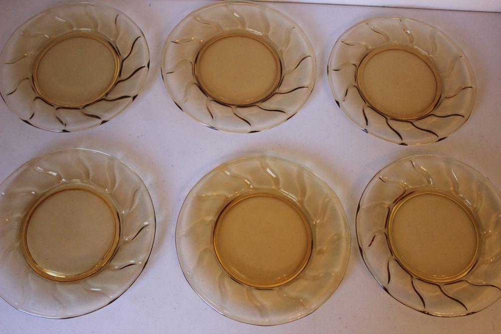 Fostoria Jamestown Amber Glass 8.5  Salad Plate - Set of 6 Plates - Very Nice & Fostoria Jamestown Amber Glass 8.5