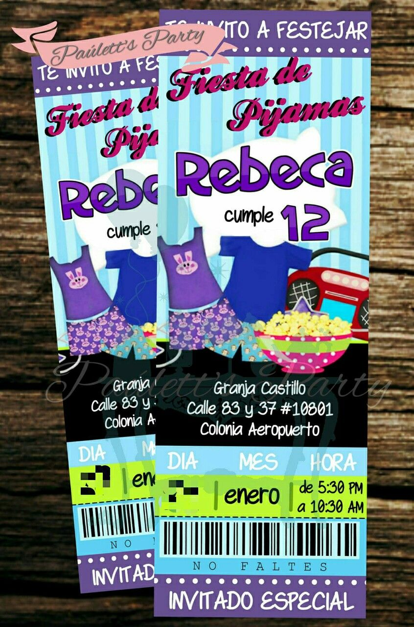 Slumber Party Ticket Invitation  Birthday Invitations