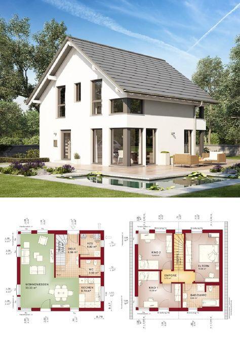 Einfamilienhaus mit Satteldach Grundriss quadratisch ohne Keller ...