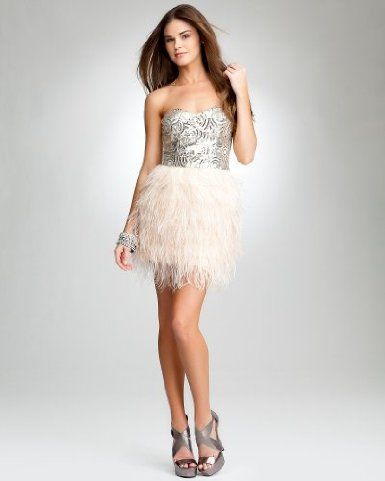 fe72344665 bebe Isis Sequin Feather Dress