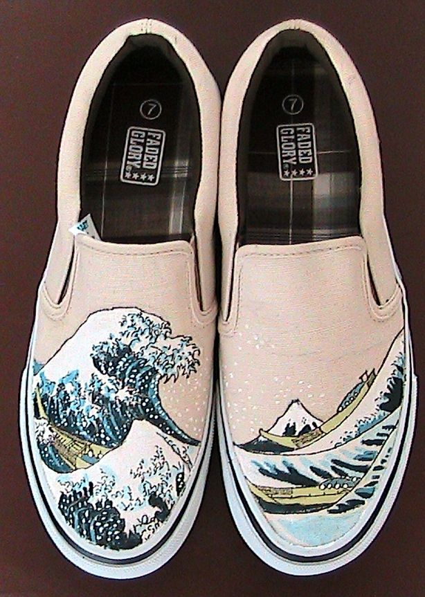 Hokusai Shoes By Jaymes Miller On Deviantart Painted Shoes Custom Vans Shoes Diy Shoes