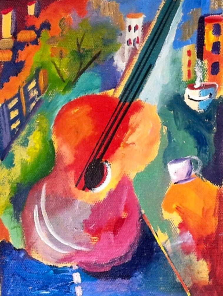 How to paint an abstract art guitar with vibrant colors for Modern drawing styles