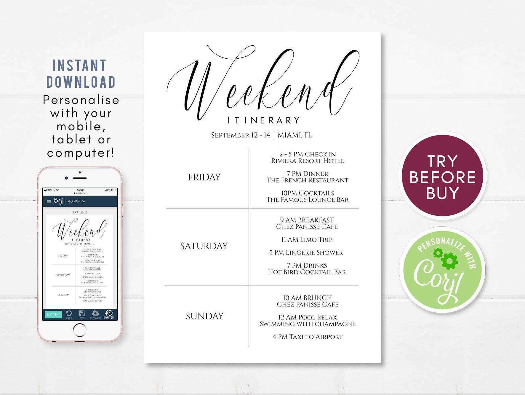 Itinerary Template Printable Bachelorette Itinerary Weekend Etsy Bachelorette Itinerary Itinerary Template Itinerary Template Free