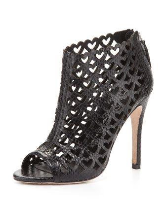 Gerri Snake-Print Heart Open-Toe Bootie by Alice + Olivia at Bergdorf Goodman.