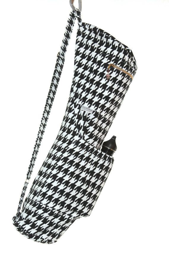 Yoga Mat Bag in Black and White Houndstooth by Aicynshell