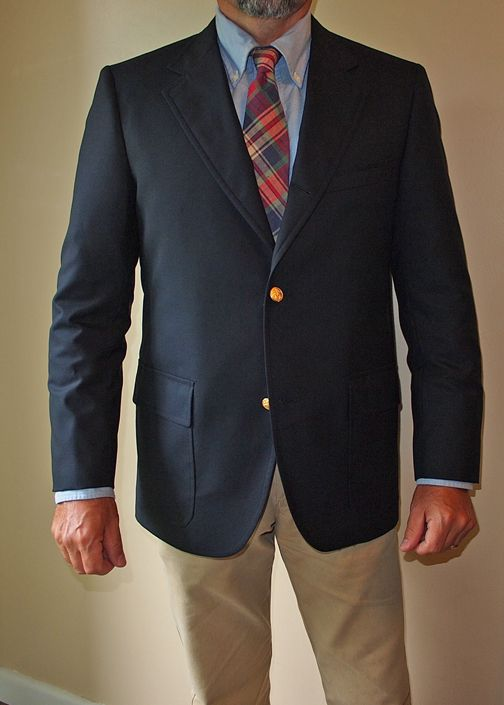 Brooks Brothers 1818 blazer, Rooster madras tie, blue OCBD.