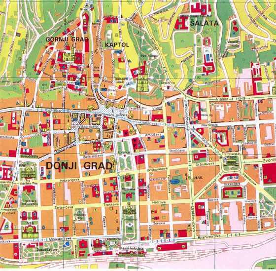 Map Of Zagreb Formerly In Yugoslavia Tourist Map Zagreb Zagreb Croatia