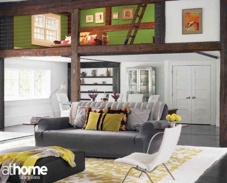 A colorful loft space