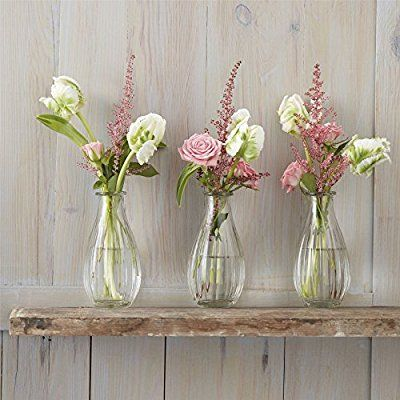 Set of Three Tall Clear Vases