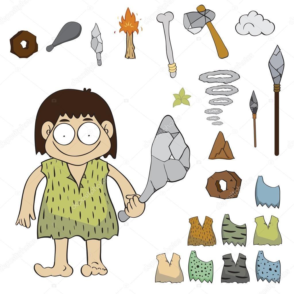 Vector De Dibujos Animados De Personas Edad De Piedra Edad De Piedra Dibujos Animados De Personas Dibujos