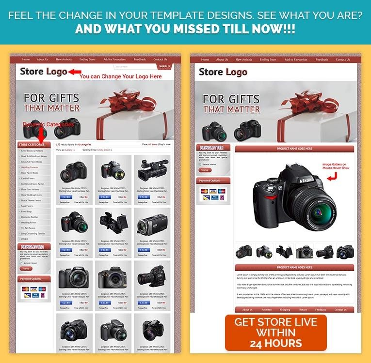 EBay Custom Template Design With Listings In Red Theme With - Mobile friendly ebay template