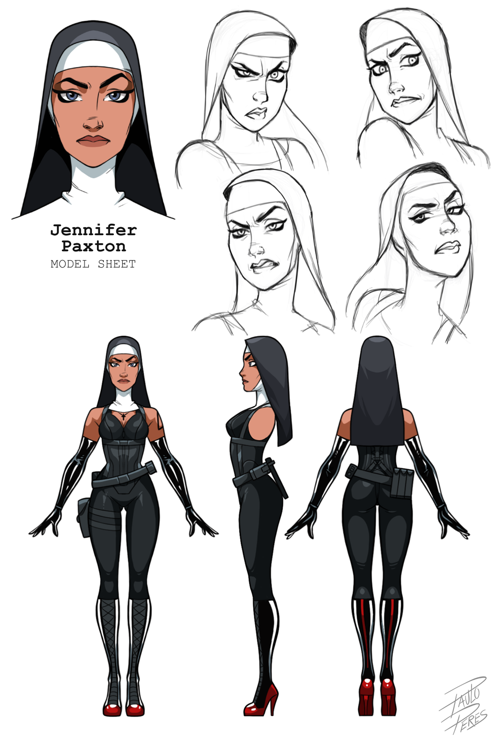 This Is A Model Sheet That I Did For One Of The Saints From Hitman It Is A Trial To T Character Design Sketches Cartoon Character Design Character Design Male