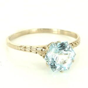 Antique Art Deco 14 Karat White Gold Blue Topaz Engagement Ring Bridal Jewelry $469