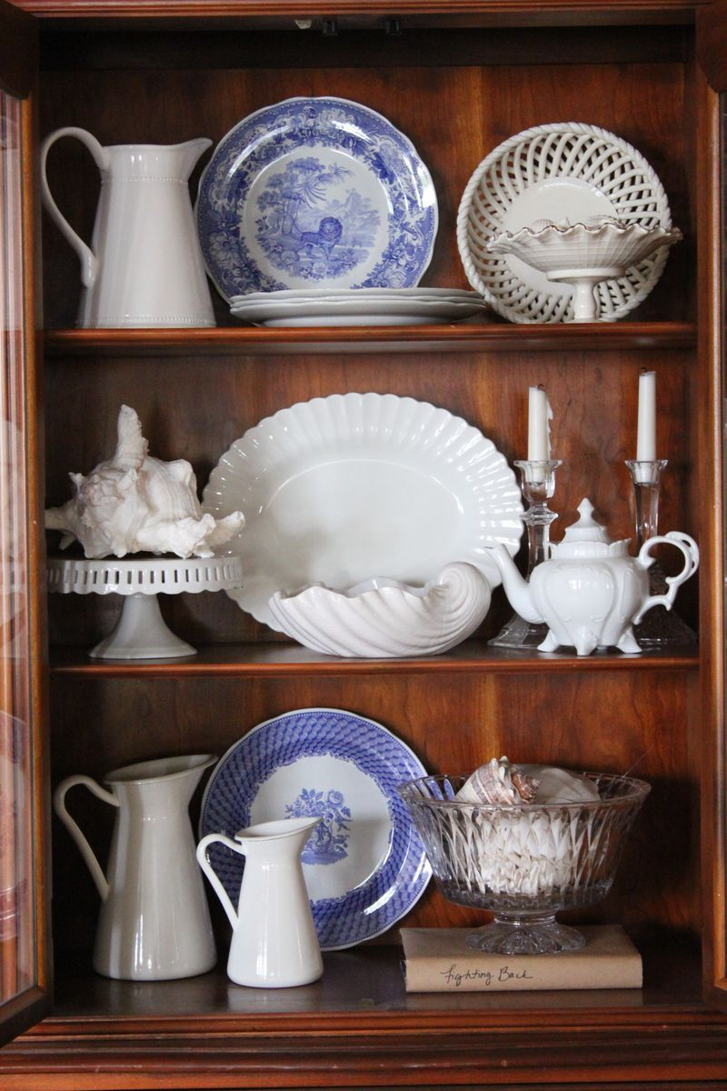 Three Blue and White Tablescapes... | China cabinet ...