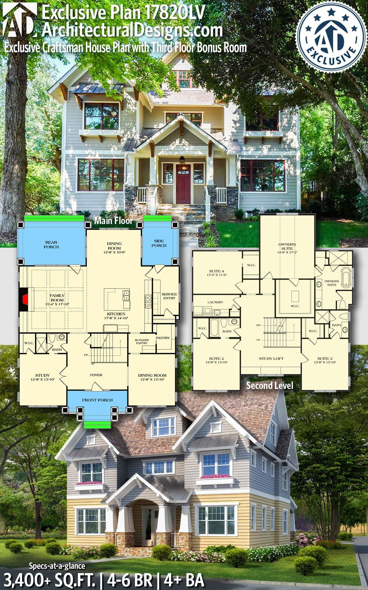 Plan 17820lv Exclusive Craftsman House Plan With Third Floor