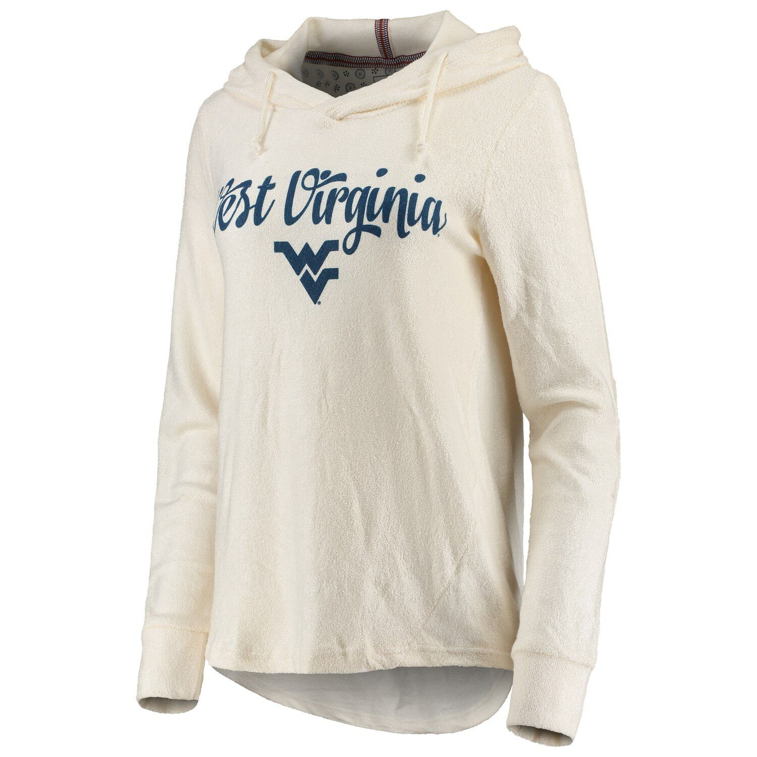 Women's Pressbox Cream West Virginia Mountaineers Supersoft Cuddle Knit Pullover Hoodie #westvirginia