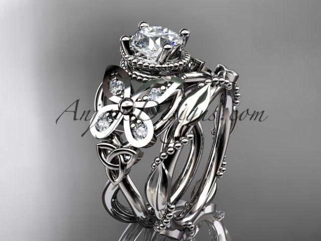 "14kt white gold diamond celtic trinity knot  wedding ring, butterfly engagement set   with a ""Forever One"" Moissanite center stone CT7136S"