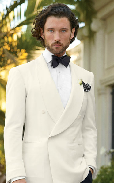 Summer white double breasted dinner jacket Wedding suits
