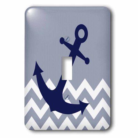 3dRose Blue Nautical Boat Anchor on Chevron Pattern, Single Toggle Switch