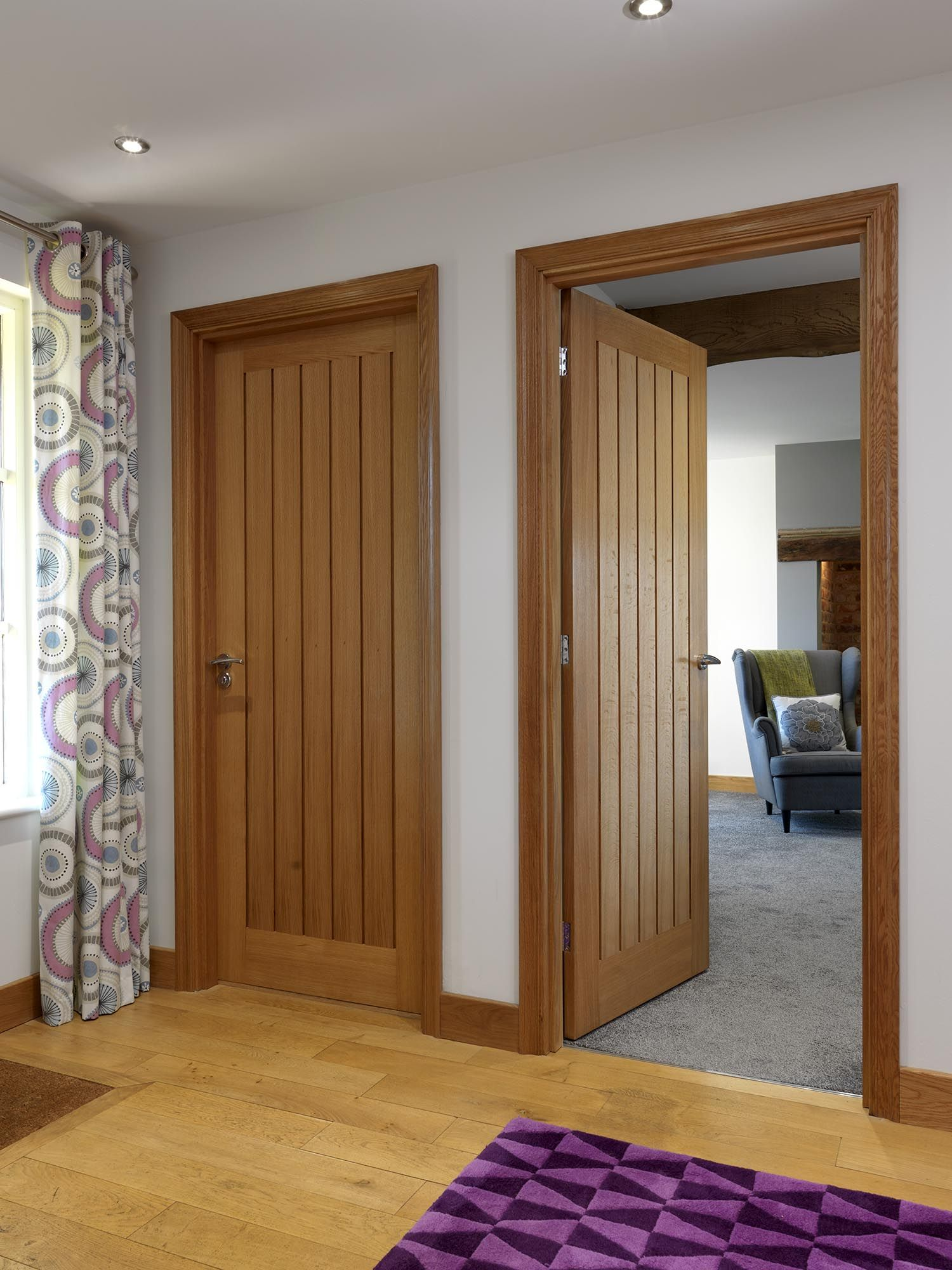 Classic cottage style oak veneered interior doors. JB Kind's River Oak Cottage - Yoxall #oakdoors