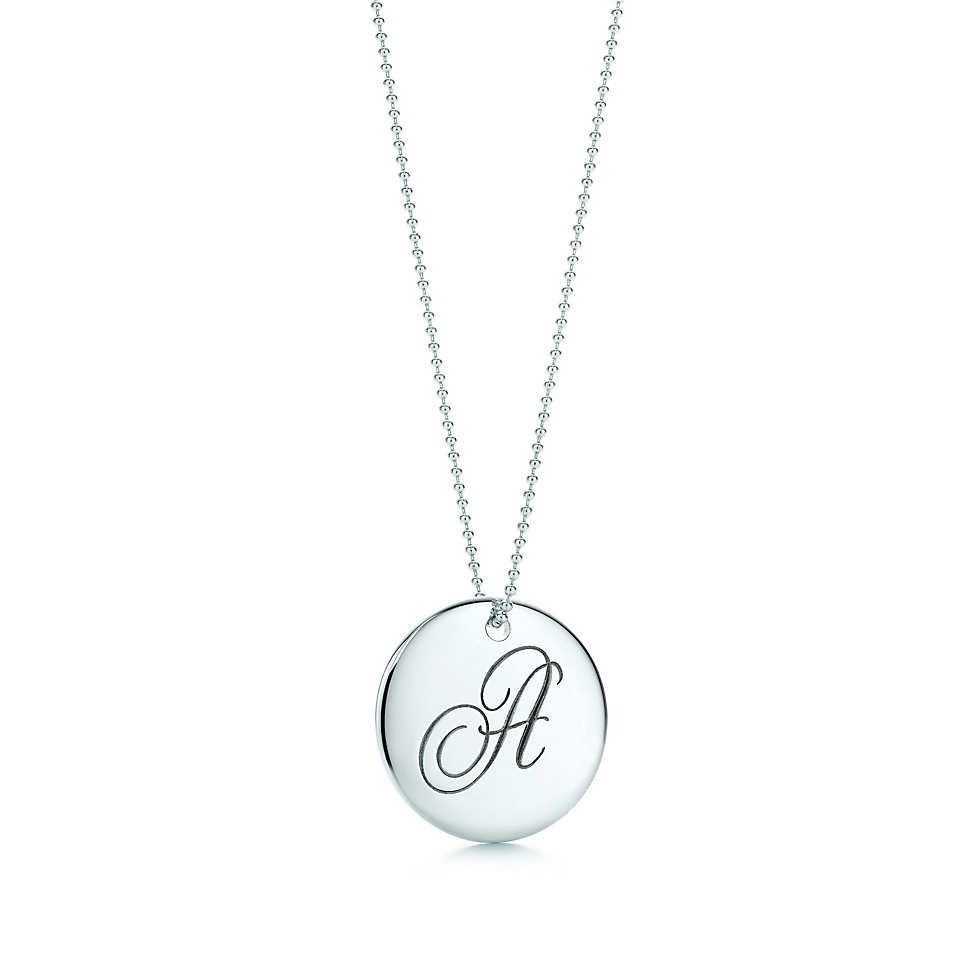 Tiffany notesletter f round pendant round pendant tiffany and tiffany notes letter round pendant in sterling silver letters a z available i would want aloadofball Images