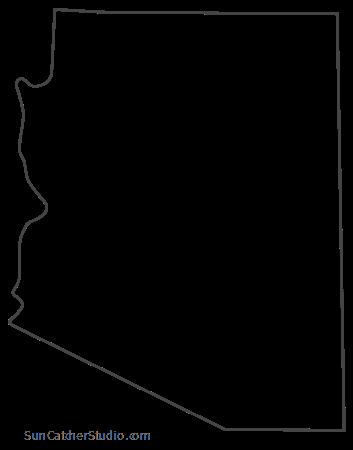 Arizona Map Outline Printable State Shape Stencil Pattern Arizona Map Educational Wall Art Outline