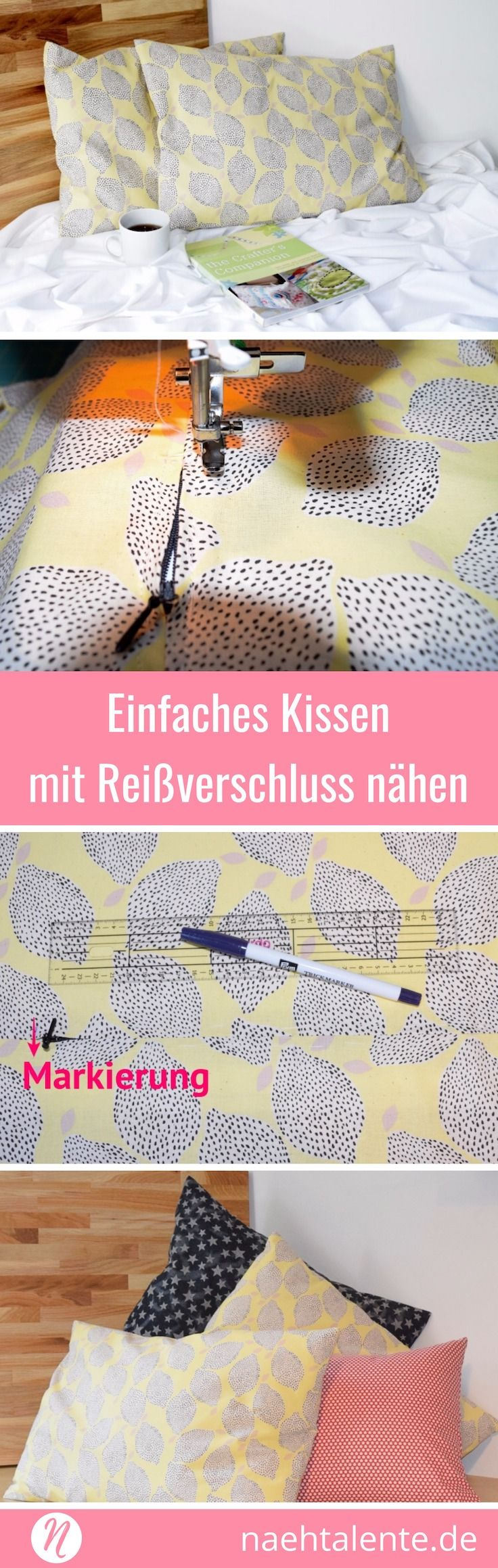 einfaches kissen mit rei verschluss n hen n h ideen u handarbeit pinterest n hen. Black Bedroom Furniture Sets. Home Design Ideas