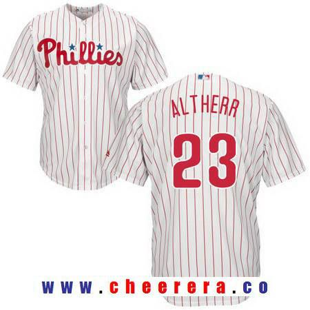 Men's Philadelphia Phillies #23 Aaron Altherr White Home Stitched MLB Majestic Cool Base Jersey