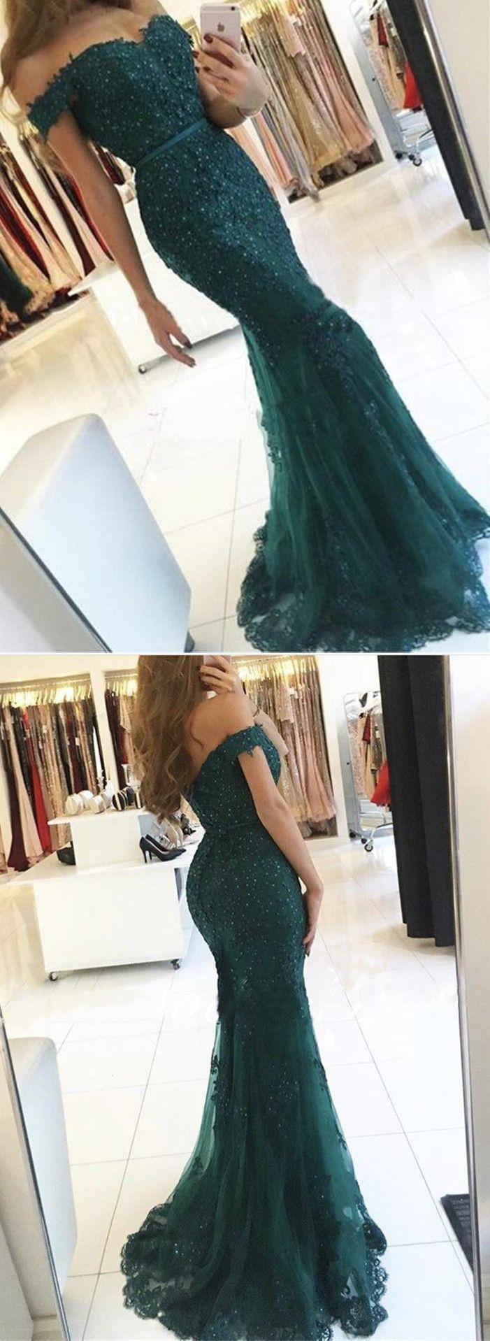 Emerald green off shoulder lace prom dress emerald green green