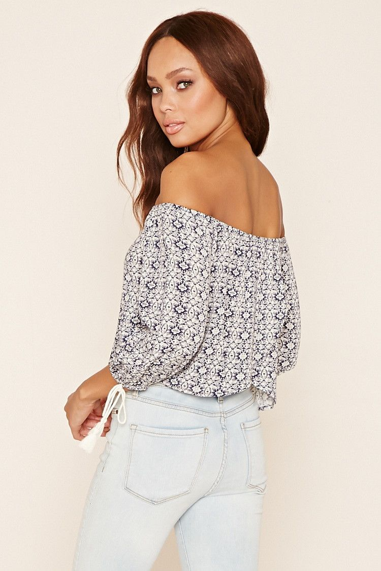 Abstract Off-The-Shoulder Top