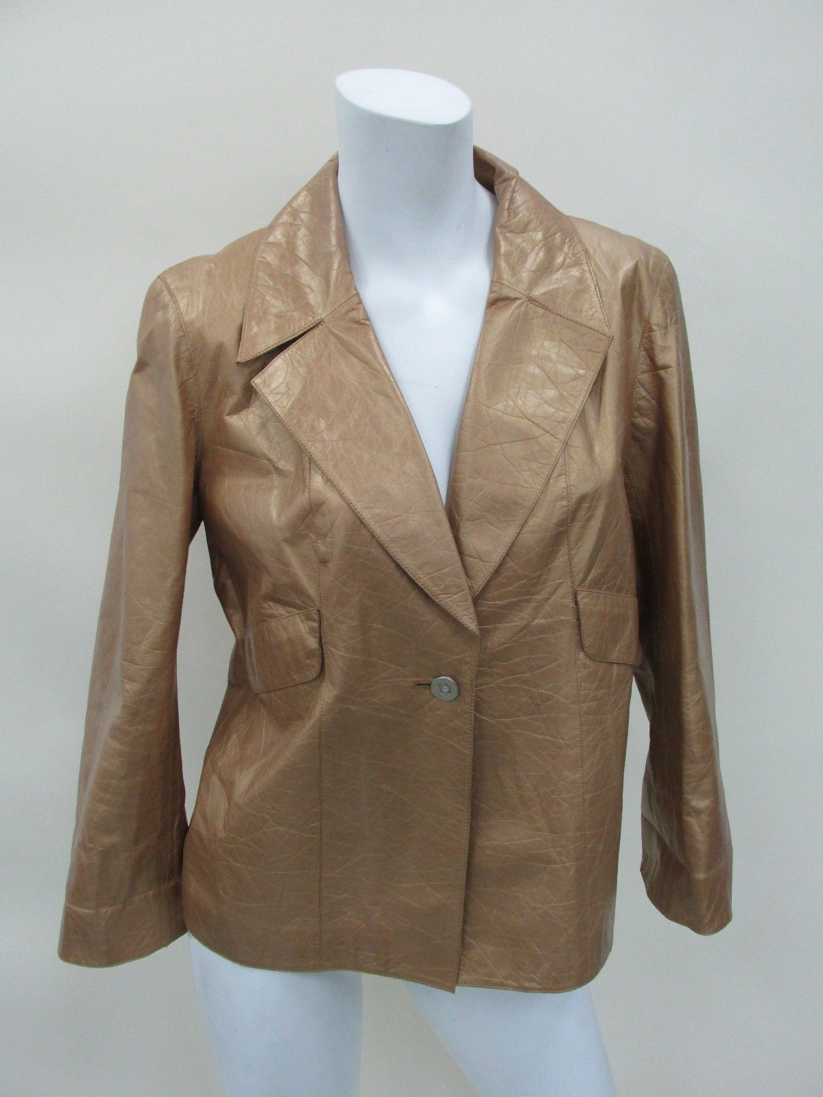 Chanel 06P Women's 100 Leather Gold Coat Jacket Size 42 Made in France | eBay