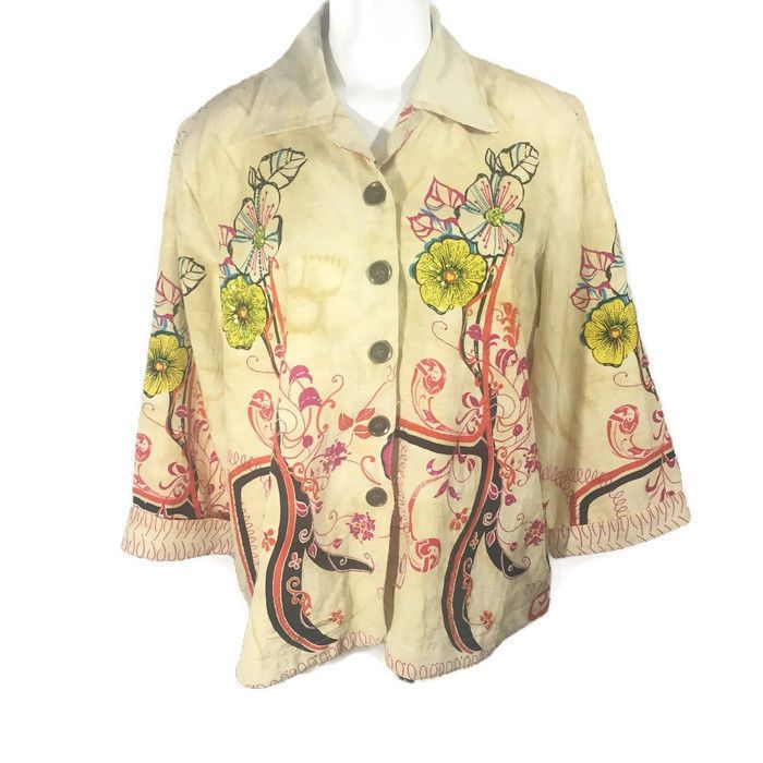66e712d7463 Pale Yellow Art Inspired Blouse Jacket 3 4 Sleeve Life Style Woman Plus  Size 1X  LifestyleWoman  Blouse  Casual