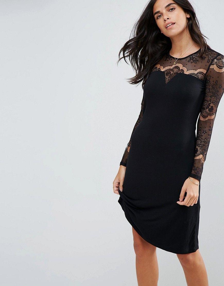 Kleid mit spitze armel schwarz