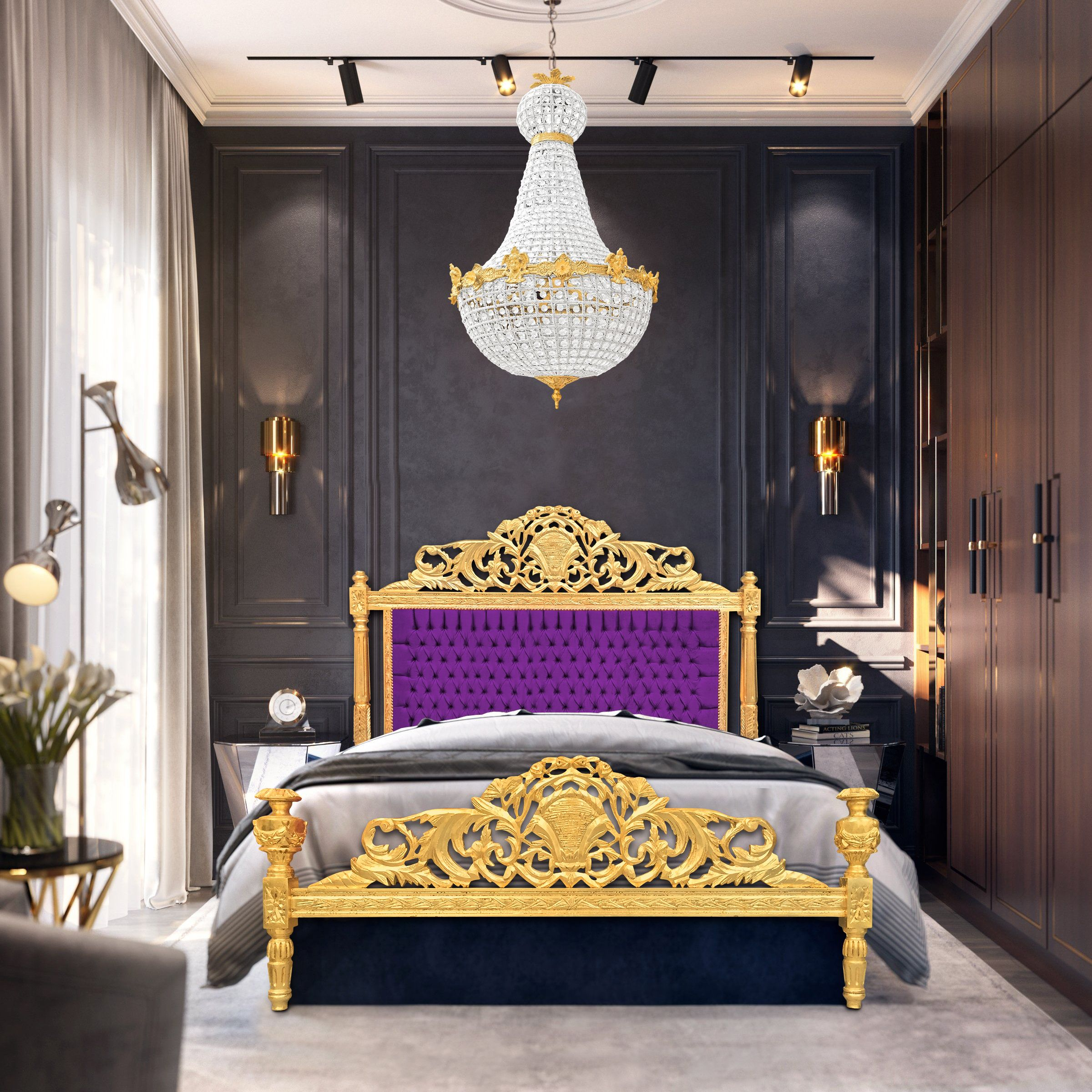 Baroque Bed Purple Velvet Fabric And Gold Wood Baroque Bed