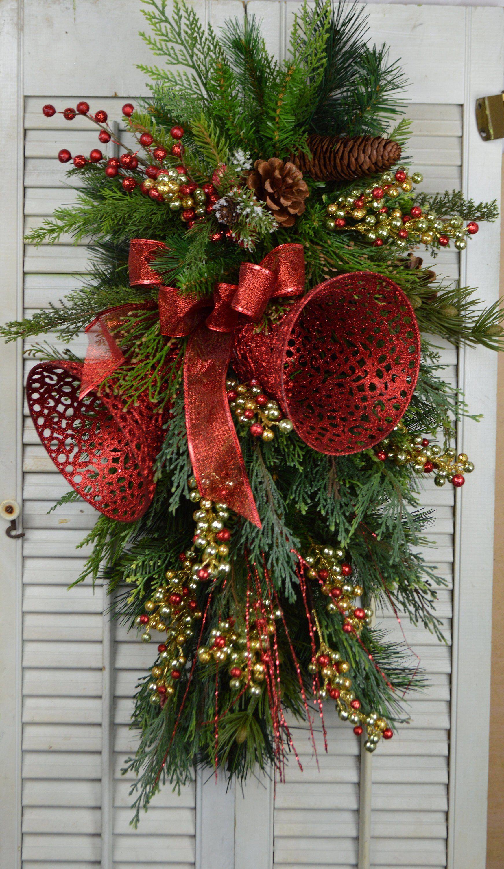 Christmas Door Swag With Bells Christmas Wreath Christmas Wreaths Diy Christmas Wreaths Christmas Door Decorations