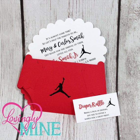 Baby Shower Diaper Invitations Set Of  Red Black   Baby Shower
