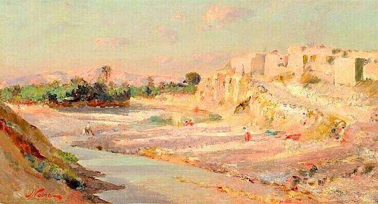 Algérie - Peintre Français ,Maxime NOIRÉ(1861-1927), huile sur toile , Titre : M'SILA