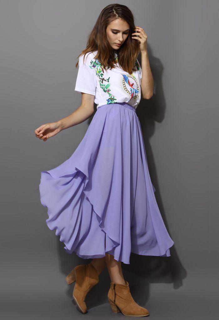 Chiffon Asymmetric Waterfall Skirt in Purple