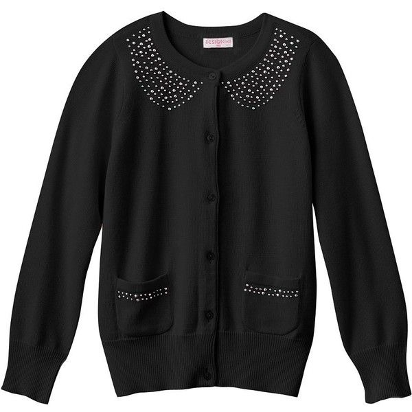 Design 365 Studded Cardigan Girls 4-6x (97 BRL) ❤ liked on Polyvore featuring baby