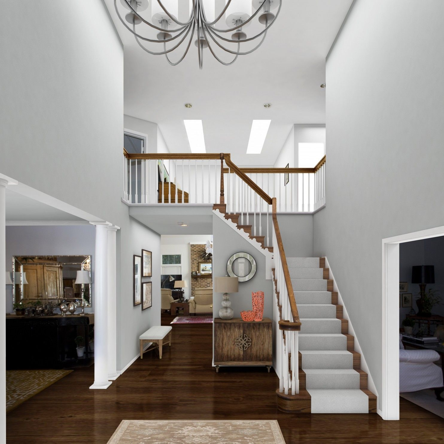 An elegant chandelier takes a builder-grade foyer from bland to beautiful - The Washington Post