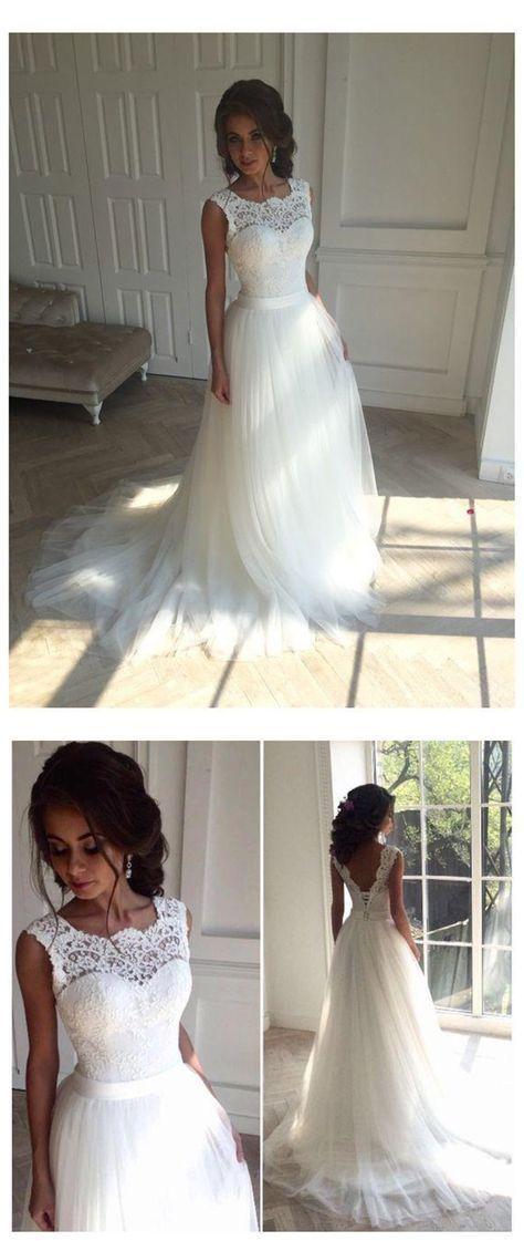 Charmante Spitze lange eine Linie Brautkleider, sexy rückenfreies Tüll Brautkl