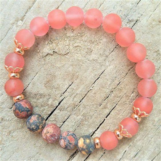gemstone link bracelet statement jewelry sterling silver Rose Quartz bracelet gift for her adjustable bracelet Lava Rock Bracelet